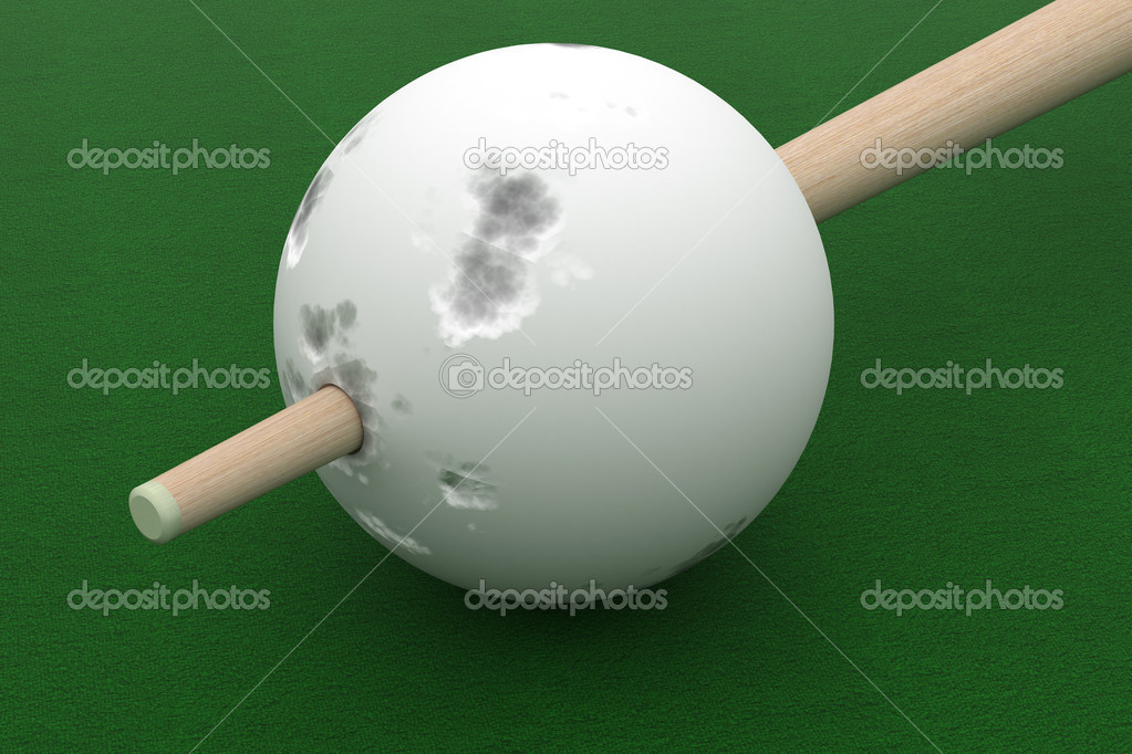 Old billiard ball punched cue. 3D image. — Stock Photo #1610451