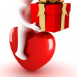 Stock Photo: Men astride heart with gift