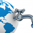 Water stocks on the earth. 3D image. — Stock Photo