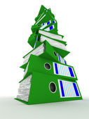 Linha verde pastas com documentos — Foto Stock