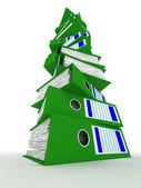Rij van groene mappen met documenten — Stockfoto