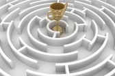 White circle labyrinth with cup — Stock Photo