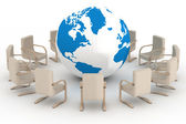 Twelve leather armchairs round globe — Stock Photo