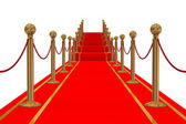 Red carpet path on a stair. 3D image. — Stock Photo