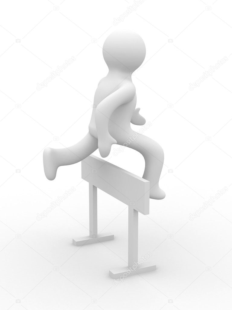 Sportsman overcoming an obstacle in a white background. 3D image — Stock Photo #1623393