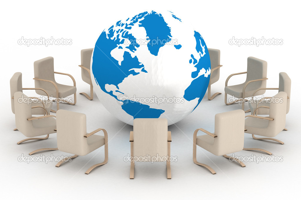Twelve leather armchairs round globe. 3D image. — Stock Photo #1628939