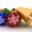 Stock Photo: Christmas ornaments on a white