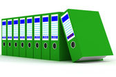 Row of green folders with documents — Stockfoto