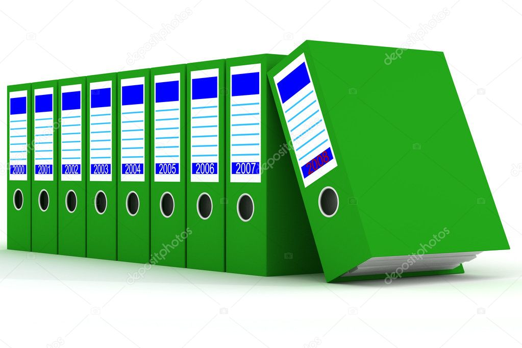 Row of green folders with documents on a white background — Stock Photo #1630433
