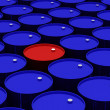 Royalty-Free Stock Photo: A lot of dark blue and one red vat