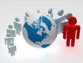 Gruppe von ständigen runden Globus — Stockfoto