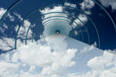 Tunnel in clouds. 3D image. — Stock Photo