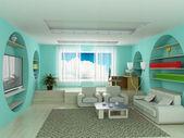 Intérieur d'une salle de séjour. image 3d. — Photo