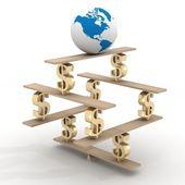 Globe op een financiële piramide. 3d-beeld. — Stockfoto