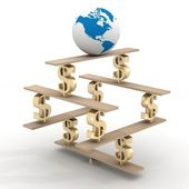 Globo en una pirámide financiera. imagen 3d. — Foto de Stock