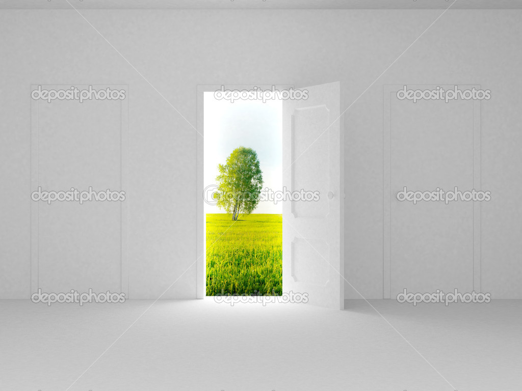 Landscape behind the open door. 3D image  Foto de Stock   #1802126