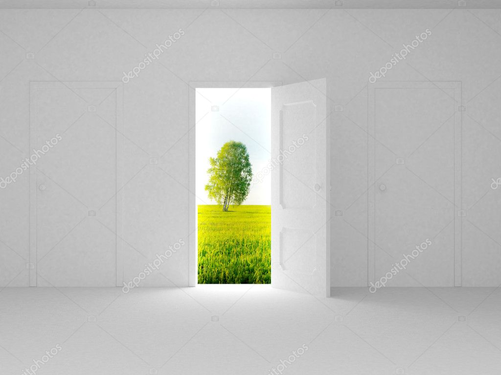 Landscape behind the open door. 3D image — Lizenzfreies Foto #1802126