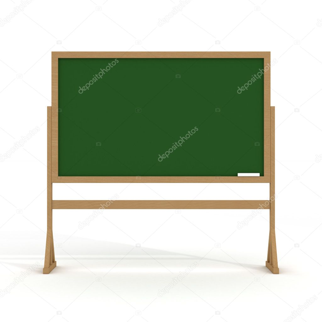 Blackboard with a chalk on a white background. 3D image.  Stock Photo #1802309