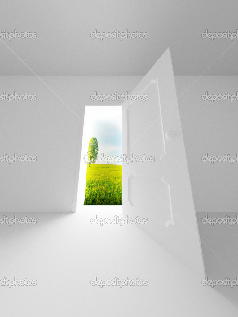 Landscape behind the open door. 3D image  Stock Photo #1802929
