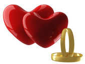 Two heart with wedding rings — Stock Photo