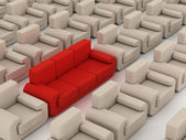 Row of white armchairs and red sofa — Stock Photo