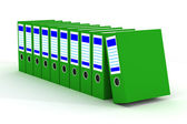 Row of green folders with documents — Stock Photo