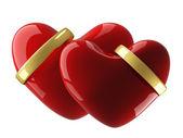 Dos corazón con anillos de boda — Foto de Stock