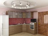Interior of modern kitchen. 3D image. — Stock Photo