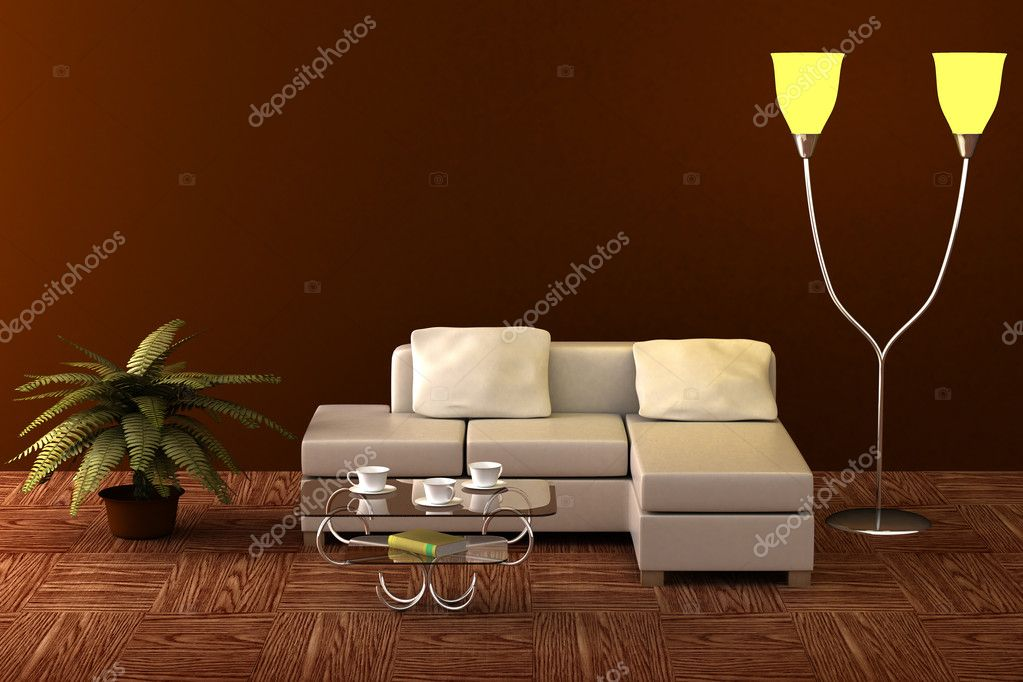 Interior of a living room. 3D image.  Stock Photo #1868326