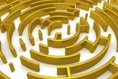 The gold labyrinth with reflection — Stock Photo