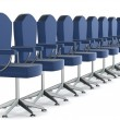 Row office armchairs on a white — Stock Photo