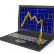 Laptop. The concept of financial falling - Foto de Stock