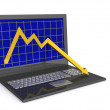 Laptop. The concept of financial falling — Stock Photo #1922380