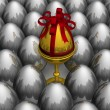 One gold egg among metal. 3D image. - Stock Photo