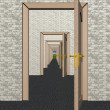 A row of the open doors. 3D image. — 图库照片