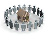 Gruppo di turno una casa in legno — Foto Stock
