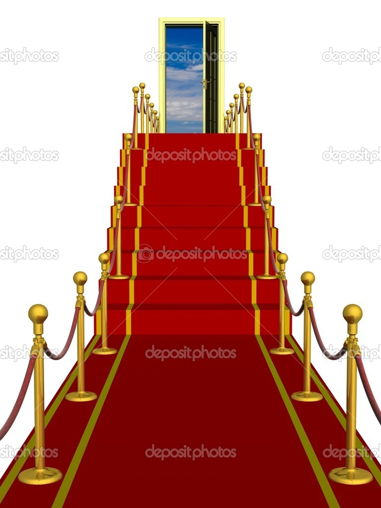Red carpet path on a ladder. 3D image. — Stock Photo #1922323