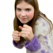 Portrait of the young girl with fists — Stock Photo
