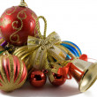 Christmas spheres in a tinsel — Photo