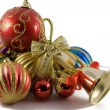 Christmas spheres in a tinsel — Stock fotografie