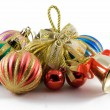 christmas spheres and handbell — Stock Photo