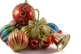 Christmas spheres in a tinsel — Stock Photo