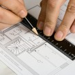The engineering drawing on a paper - Stock Photo