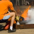 Stock Photo: Firemextinguishes foam fire