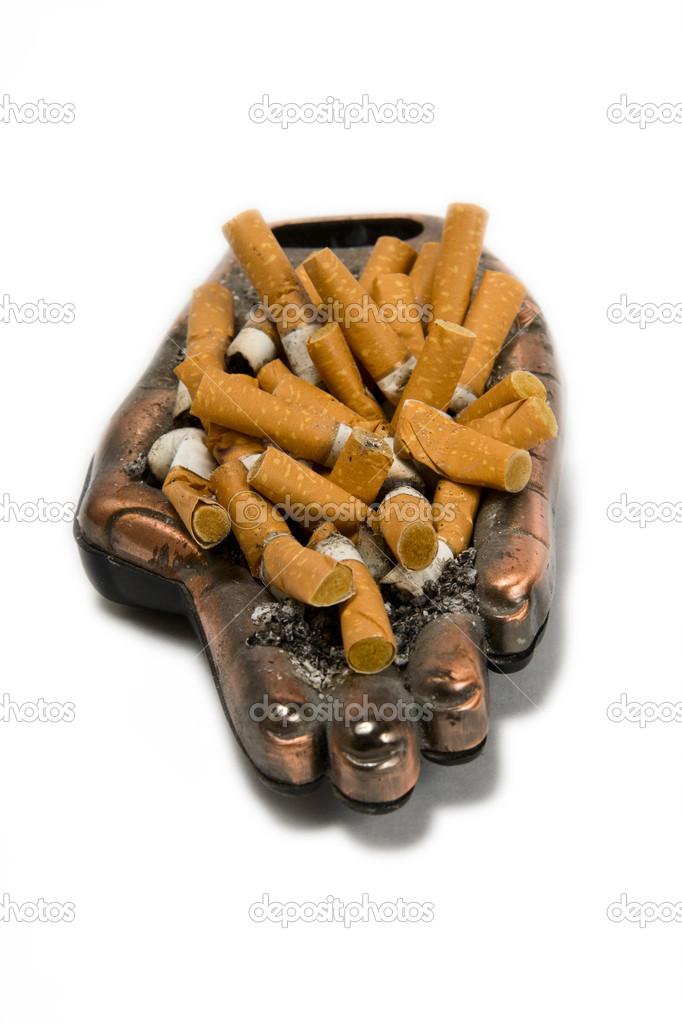 Ashtray with many cigarette on a white background  Stock Photo #2142463