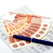 Cash Russian money for signed document — Stock Photo