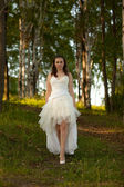 Bride in white dress on the nature — Stock Photo
