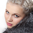 Portrait beautiful girl in fur coat — Stock Photo #2192504