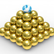Pyramid from spheres on white — Stock Photo