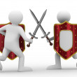 Knight with sword on white background — Stock Photo